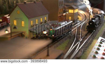 Retro Railaway Station Replica. Models Of Miniature Trains.