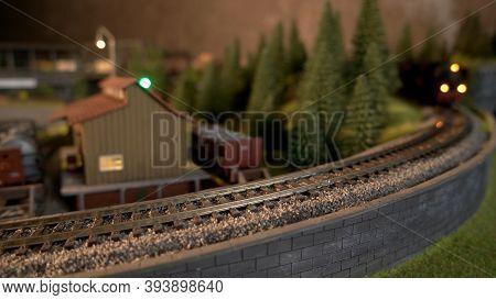 Miniature Railway Replica. Retro Railroad With Train.