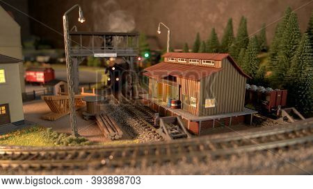 Retro Railway Depot Replica. Miniature Model Of Railroad And Shed.