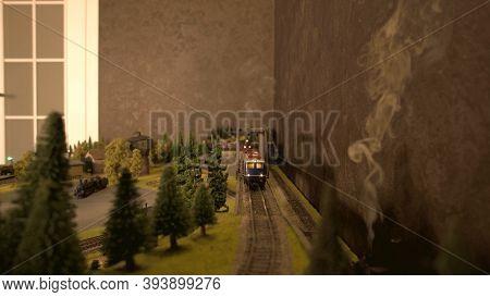 Front View Coming Train. Replica Train Lokomotive Model And Smoke.
