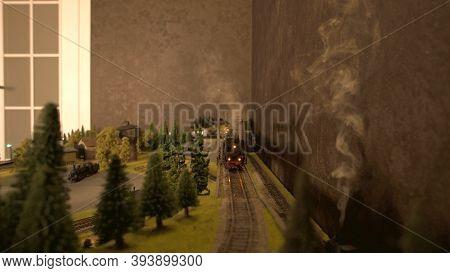Steam Lokomotive Front View. Miniature Railway Model.