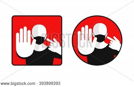 Mask Required Warning Prevention Sign Stylized As Stop Roadsign In Square And Circle Form - Face Sil