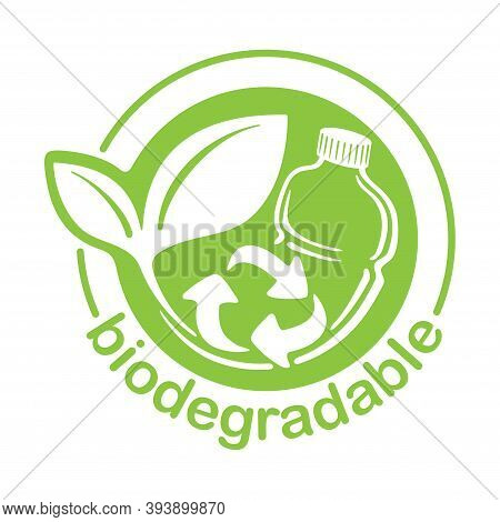Biodegradable Plastic Stamp - Bottle Turns To Plant With Recyclable Symbol - Eco Friendly Logo For C