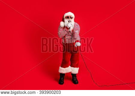 Full Length Body Size View Of His He Handsome Bearded Fat Overweight Cheerful Santa Soloist Vocalist