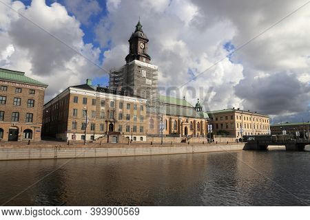 Gothenburg, Sweden - August 26, 2018: Renovation Works Of German Church In Gothenburg. Gothenburg Is