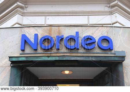 Gothenburg, Sweden - August 27, 2018: Nordea Bank Branch In Gothenburg, Sweden. Nordea Became One Of