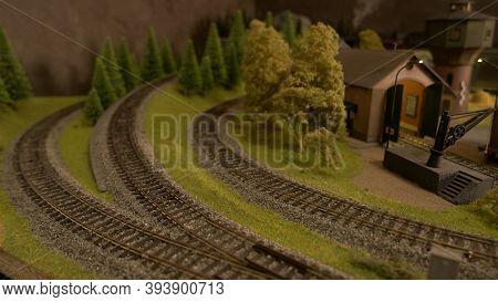 Plastic Miniature Railroads. Countryside Railway Model. Vintage Railway.