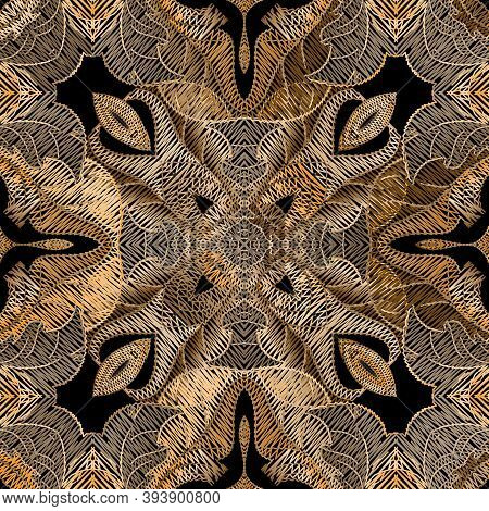 Embroidery Floral Vector Seamless Pattern. Baroque Ornaments. Gold Grunge Background. Tapestry Wallp