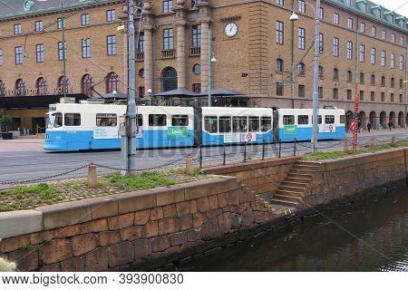 Gothenburg, Sweden - August 27, 2018: Blue Tram In Gothenburg, Sweden. Gothenburg Has Largest Tram N
