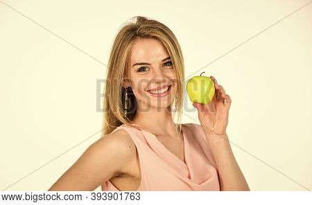 Optimistic Woman. Healthy Smile. Dentistry Concept. Teeth Whitening. Woman Hold Apple. Fresh And Jui