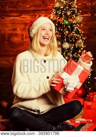 New Year Is Coming. Happy Smiling Woman And Gift Box. Happy Moments. Happiness And Joy. Thrilling Em