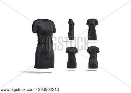 Blank Black Cloth Dress Mock Up, Different Views, 3d Rendering. Empty Long Casual Clothing For Eveni