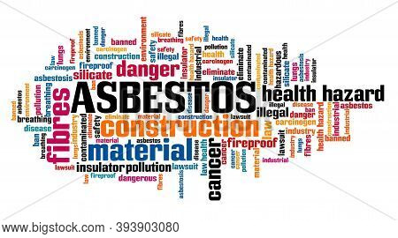 Asbestos Construction Material Problems And Issues. Word Cloud Concept.