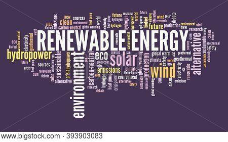 Renewable Energy Concept. Alternative Energy Sources Word Cloud Sign.