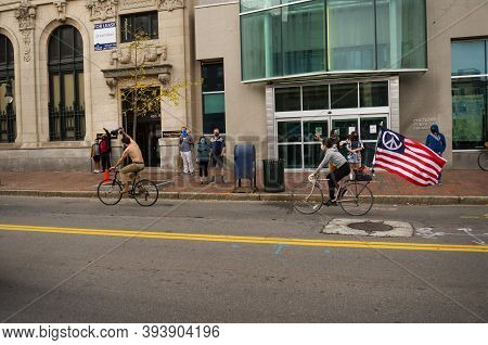 Mainers Celebrate Joe Biden's Victory Of The 2020 United States Presidential Election In Downtown Po