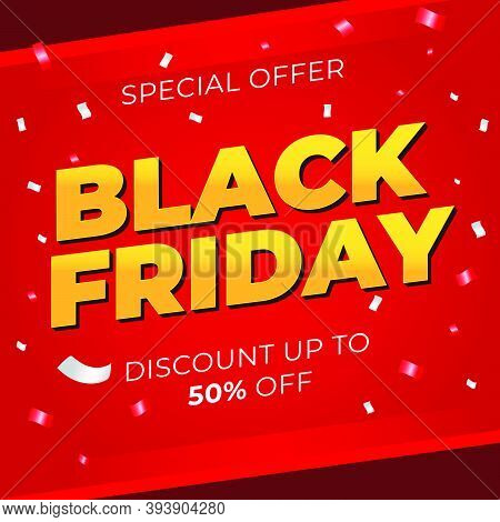 Sale Banner Template Design With Black Friday Sale Word. Social Media Banner Template, Voucher, Disc