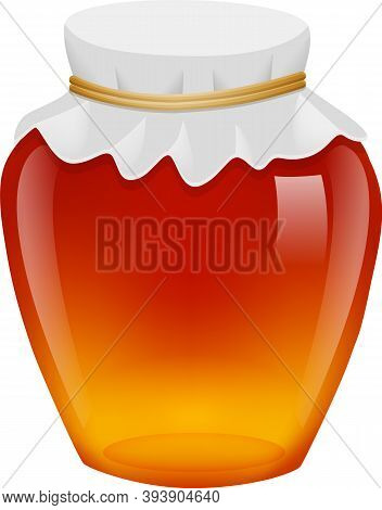 Delicious Honey In Full Glass Jar.  Vector Realistic Illustration Isolated
