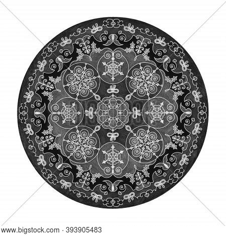 Colored Pencil Effects. Mandala Illustration Black, White And Grey. Christmas Ball, Butterfly, Heart