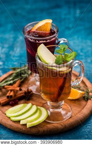 Hot Tea With Apple And Orange, Cinnamon, Star Anise, Christmas Drink Mulled Cider With Cinnamon, Ani
