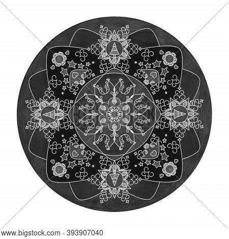 Colored Pencil Effects. Christmas Theme. Mandala Illustration Black, White And Grey. Christmas Tree,