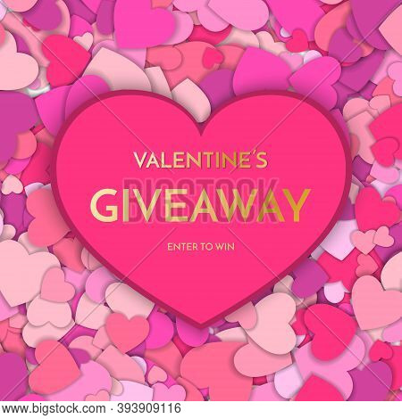 Giveaway Banner Template. Time For A Giveaway Phrase On Red Background. Valentines Day Giveaway. Vec
