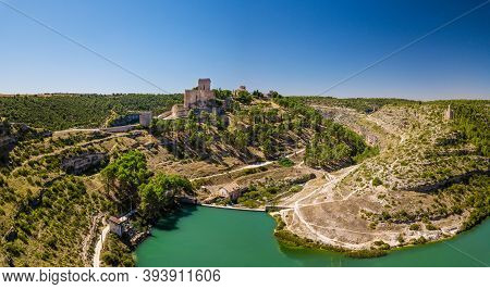 Aerial View Of The Famous Fortified Medieval Town Of Alarcon In Cuenca, Castilla-la Mancha, Surround