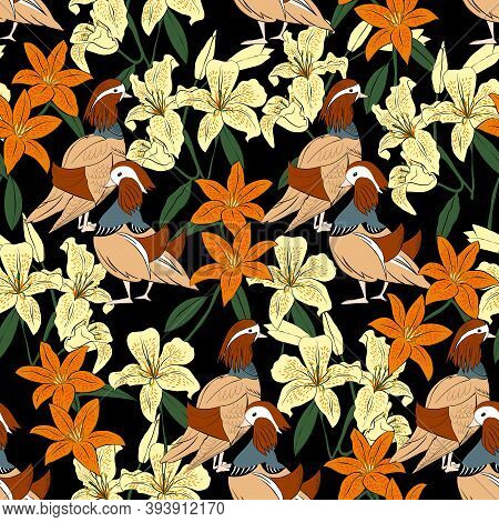 Vector Illustration Seamless Pattern With Flowers And Duck In Ukiyo Style, White And Orange Lilies A