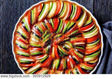 Ratatouille, Vegetable Stew Of Sliced Eggplant, Zucchini, Tomato, French Cuisine, Horizontal View Fr