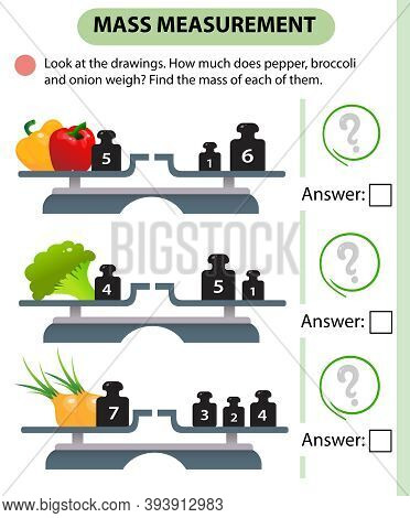 Math Game, Education Game For Children. Mass Measurement. Scales. How Much Do Peppers, Broccoli And