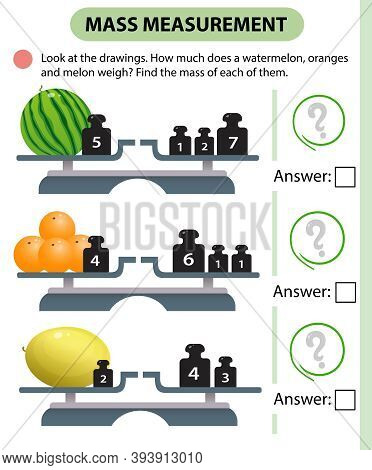 Math Game, Education Game For Children. Mass Measurement. Scales. How Much Do Watermelon, Oranges An