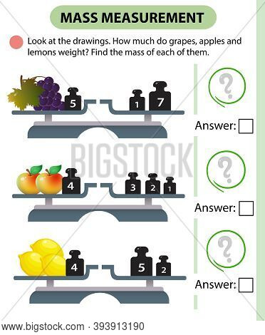 Math Game, Education Game For Children. Mass Measurement. Scales. How Much Do Grapes, Apples And Lem