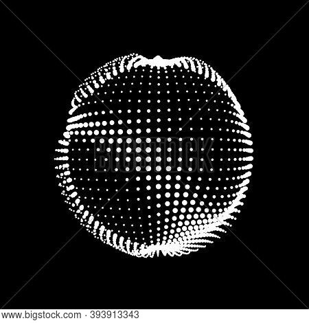 A Deformed Deflating Sphere Formed From A Sea Of Dots. An Unstable Nonequilibrium Sphere, Iridescent