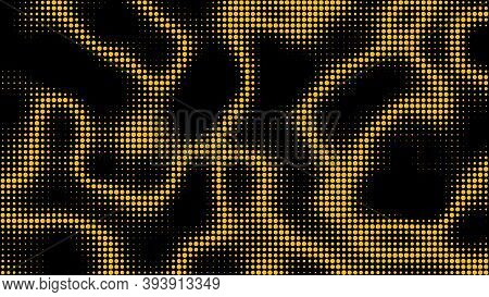 Electric Neon Waves Filling The Ether. Shimmering Dots Forming A Pattern Of Smooth Lines, Bumps And