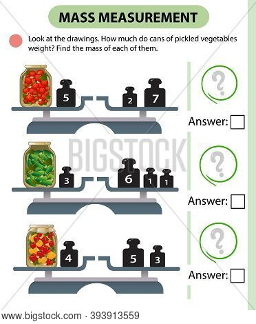 Math Game, Education Game For Children. Mass Measurement. Scales. How Much Do Cans Of Pickled Vegeta