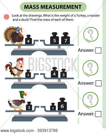 Math Game, Education Game For Children. Mass Measurement. Scales. What Is The Weight Of A Turkey, A