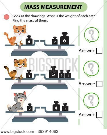 Math Game, Education Game For Children. Mass Measurement. Scales. What Is The Weight Of Each Cat? So