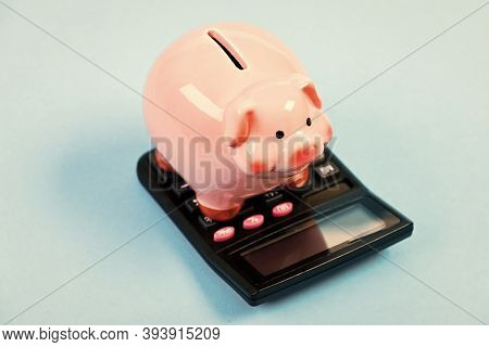 Investing Gain Profit. Calculate Taxes. Piggy Bank Pig And Calculator. Taxes And Charges May Vary. A