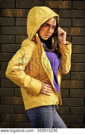 Girl Short Jacket Urban Style. Woman Enjoy Cool Weather. Matching Style And Class With Luxury And Co