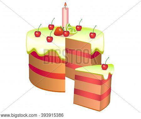 Slice Cake With Slice. Cherry Cake With Candle, Covered With Lemon Glaze With Cherries, Lemon And St