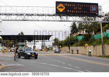 La Calera Colombia - October, 2020: View Of  Los Patios Toll On The Road Between Bogota And La Caler
