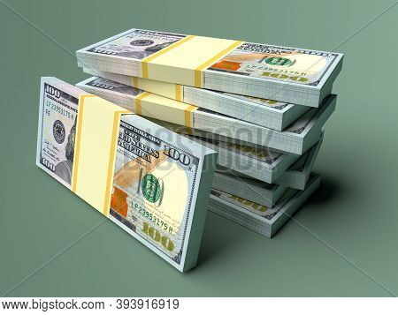 Money American Dollars On Green Background. Business And Finance Concepts.