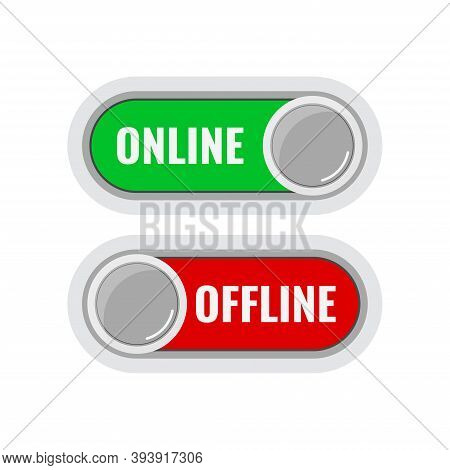 Online And Offline Contact Or Work Icon Set Isolated On White Background. Green Online Live And Red