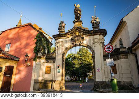 Prague, Czech Republic - September 19, 2020. Entrance Through The Gate To The Brevnov Monastery