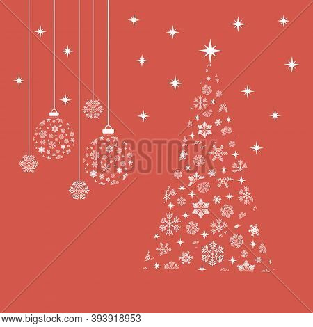 New Year's Balls And Snowflakes. Vector Illustration Of Christmas Balls, Snowflakes And New Year Tre