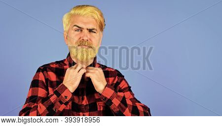 Coloring Beard. Expression Of Inner You. Moisturise And Apply Beard Oils. Handsome Man Unshaven Face