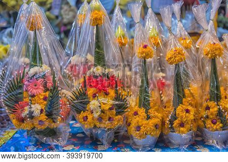 "Thailand, Bangkok 18,07,2019 Flower Market Name ""pak Klong Talad"" There Are Many Beautiful And Cheap"