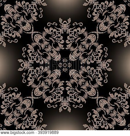 Embroidery Baroque Vector Seamless Pattern. Glowing Floral Grunge Mandalas Background. Tapestry Wall