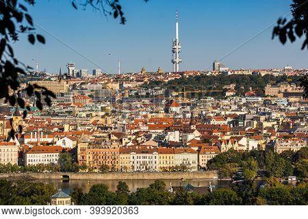 Prague, Czech Republic - September 19, 2020. Panorama Of Moldau (vltava) Riverbank With View To The