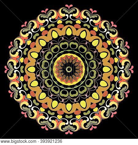 Paisley Round Mandala Pattern. Floral Colorful Ornamental Background. Decorative Backdrop. Ethnic Pa