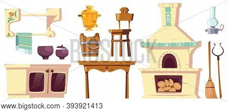 Old Furniture Of Rural Russian Kitchen With Oven, Samovar, Table, Chair And Grip. Vector Cartoon Int